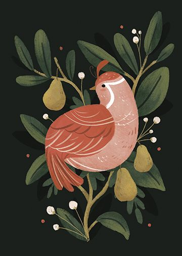 """Partridge in a pear tree"" digital illustration Lindsay Dale-Scott 2015"