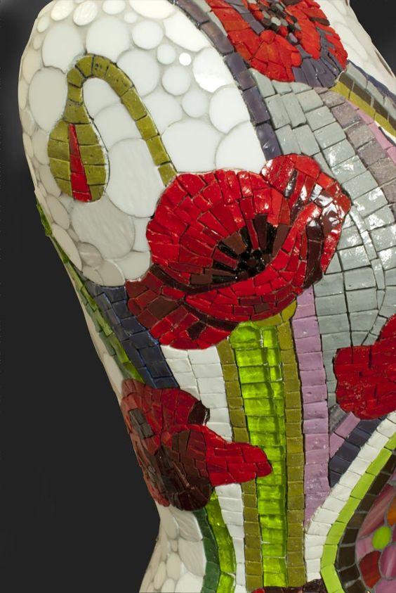 Buste réalisé en pate de verre et verre spectrum - Stéphanie Chatelet 2011