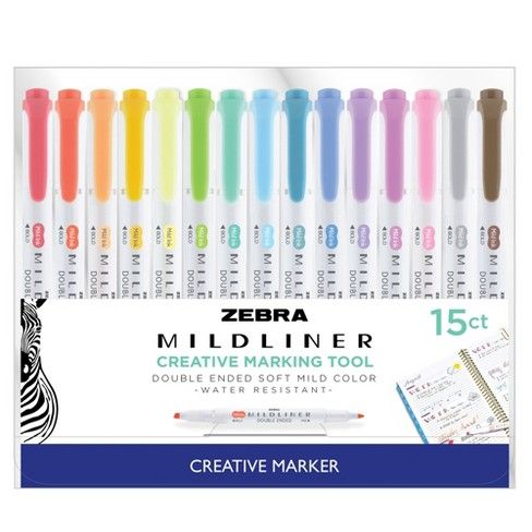 15ct Dual Tip Creative Marker Zebra Mildliner Bullet Journal