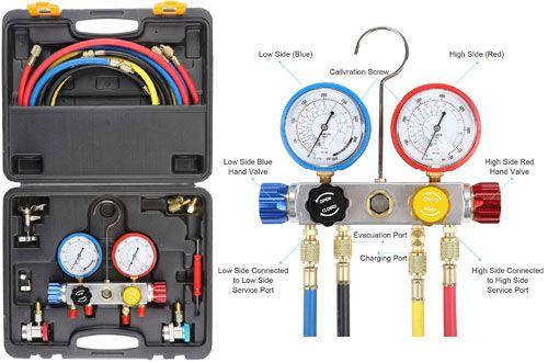5 Orion Motortech Ac Diagnostic Manifold Gauge Set For R134a R410a And R22 Refrigerants Tire Pressure Gauge Gauges Ac Repair