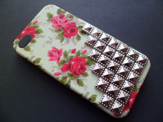 Pretty Floral Silver Stud Iphone 4 4S by PinkLaundryShop on Etsy, $28.00