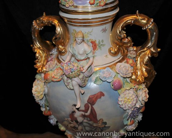 XL German Meissen Porcelain Encrusted Vases Maiden Urns