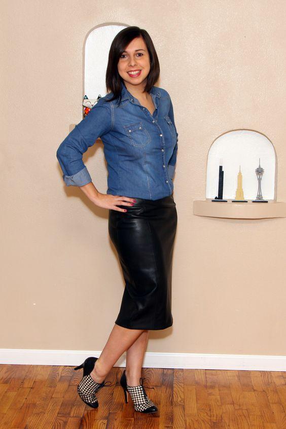 Guarda-roupa de trabalho: camisa jeans e saia preta