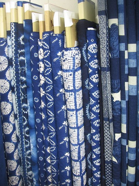 Assortment of white indigo fabrics i 39 d love to have for Where can you get fabric