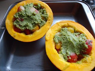 Baked Squash with Garlic Scape Pesto