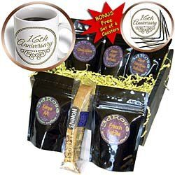 InspirationzStore Occasions - 16th Anniversary gift - gold text for celebrating wedding anniversaries - 16 years married together - Coffee Gift Baskets - Coffee Gift Basket