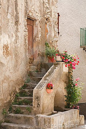 Stone steps to a medieval house in Entrevaux, France-photo by Paul Maguire | Dreamstime ᘡղbᘠ