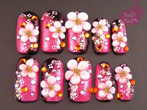 kimono -- hot pink/black with 3d blossoms I MUST HAVE THESE ON MY TOES!!!!