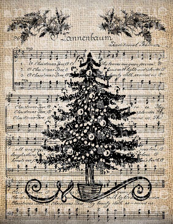Antike Musik Weihnachtsbaum Holiday Song Digital Download für Papercrafts, Transfer, Kissen usw. Sackleinen Nr. 3903