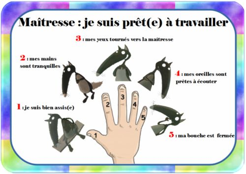 "Le give me five du loup - je suis prêt(e) à travailler - the French version for the ""Give me five"" I'm ready to work!"