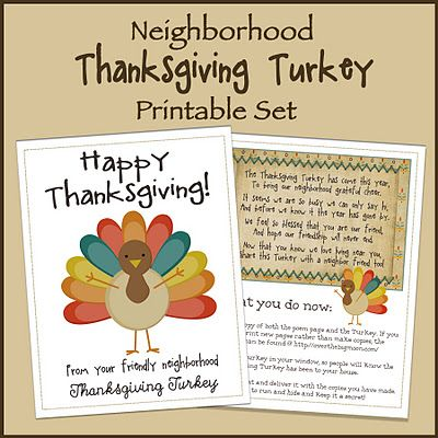 Neighborhood Thanksgiving Turkey Printable Set