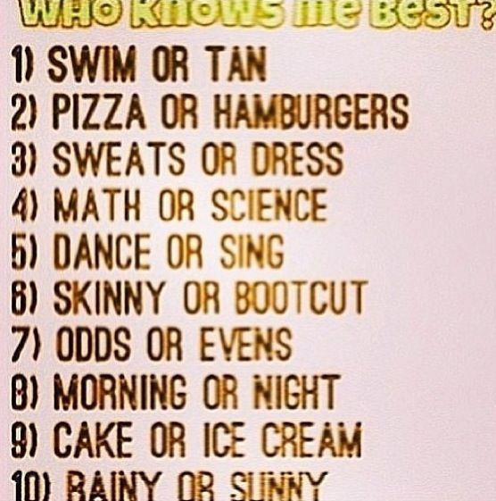 who knows me the best? comment what you think! xx<3 first to get 5 right gets a follow!!