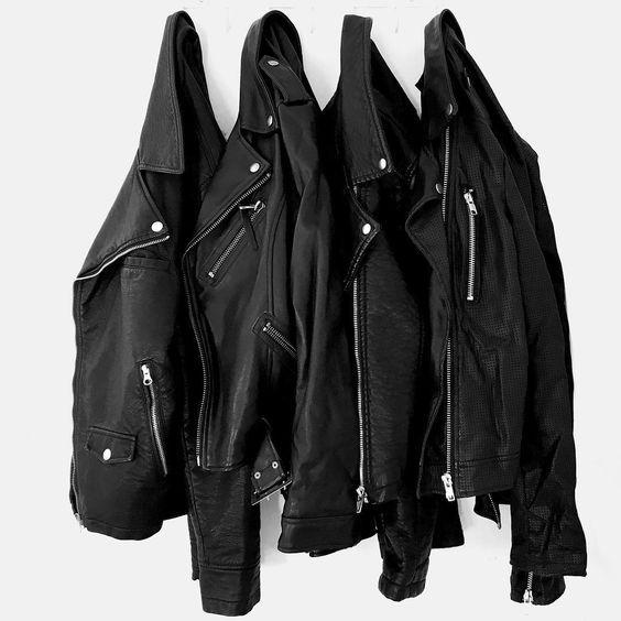 black leather moto jackets.