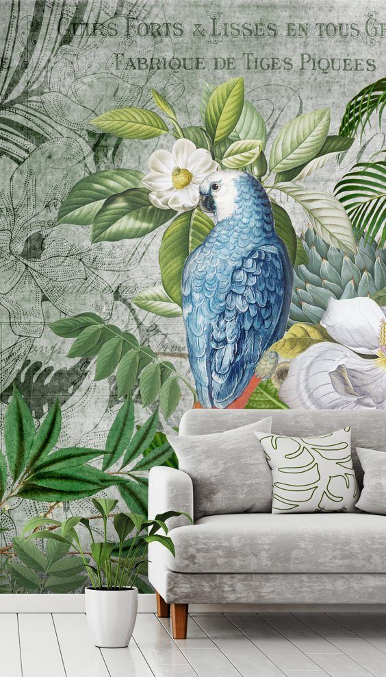 Jungle Of Birds Wallpaper By Andrea Haase Wallsauce Us Mural Wallpaper Bird Wallpaper Jungle Wallpaper
