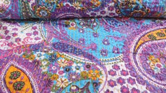 Handmade flower printed Kantha Quilt Throw Ralli VIntage Paisley printed Gudari bed cover floral kantha throw bedspread by textileszone on Etsy