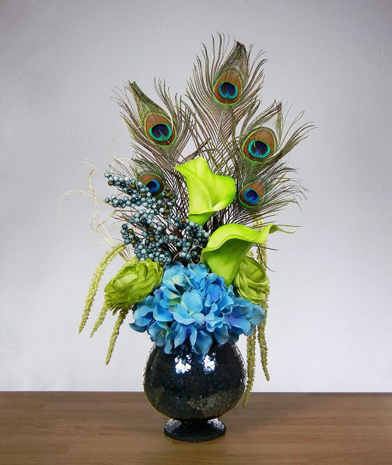 New Blue And Green Peacock Feather Hydrangea Rose Lily