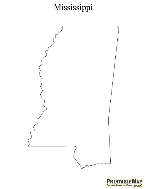 Simple Mississippi Outline Printable maps, mississippi and maps on ...