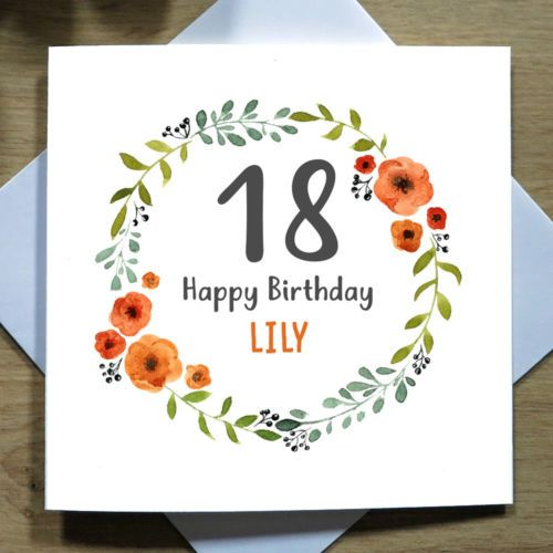Personalised Handmade 18th Birthday Card Daughter Granddaughter Floral Wreath Ebay 18th Birthday Cards Birthday Cards For Her 21st Birthday Cards