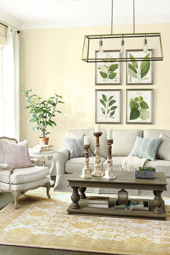 Botanical prints give a room a fresh, Spring-ready feel