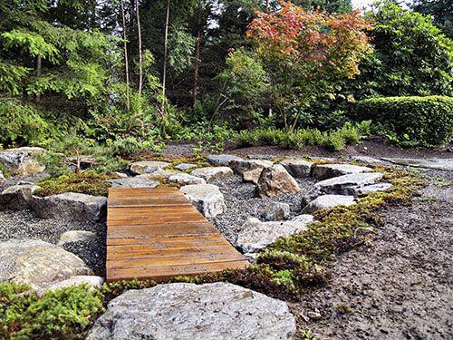 Japanese courtyard garden - bridge over