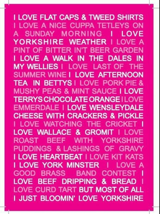 """I don't understand what most of this stuff is, but Yorkshire is on my travel """"to do"""" list!"""