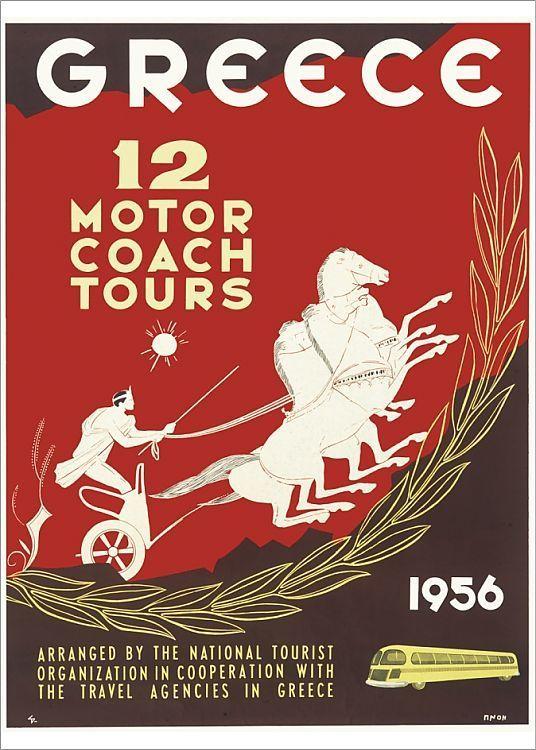 Print Of Poster Advertising Motor Coach Tours In Greece In 2020 Coach Tours Poster Tours