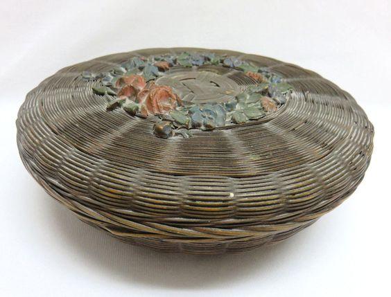 Vintage Round Weave Sewing Basket