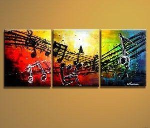 Tableau notes de musique peint la main tableau d co en for Tableau en 3 parties