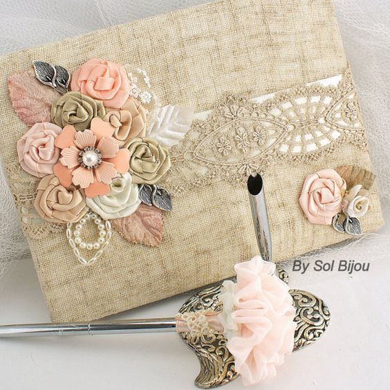 Wedding Guest Book and Pen Set Shabby Chic Vintage Inspired in Ivory, Blush, Peach, and Champagne with Linen, Lace, Pearls and Brooch