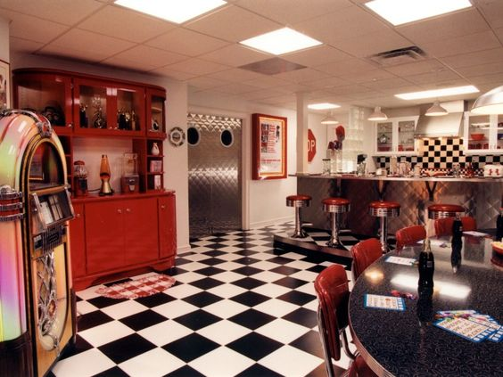 Retro basement bar basements by j for Retro basement ideas