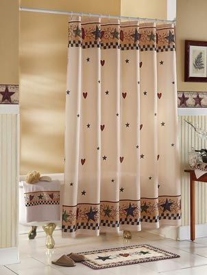 Country Stars & Hearts Bathroom Shower Curtain | Primitive Country ...