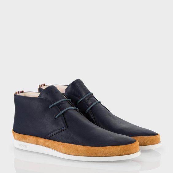 paul smith s shoes navy leather loomis chukka boots