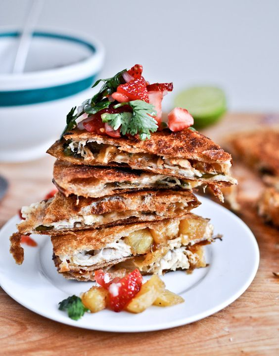 Caramelized pineapple quesadillas with spicy strawberry salsa