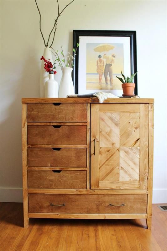 This Dresser Includes 4 Drawers On One Side A Storage Cabinet On The Other And A Large Drawer On The Bottom For Armoire Diy Diy Dresser Diy Furniture Bedroom