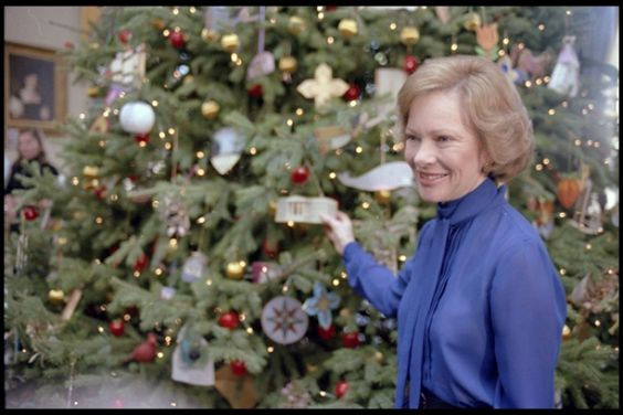Rosalynn Carter previewing the 1979 White House Christmas decorations, December 10, 1979.