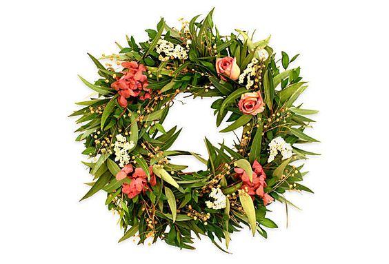 """17"""" Rose & Myrtle Wreath: Blade Myrtle, Rose Myrtle, Roses Linum, Florals Wreaths, Roses Preserved, Myrtle Wreath, Wreaths Year Round"""