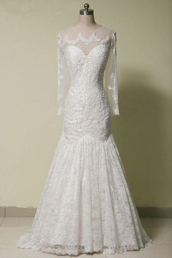 http://s.click.aliexpress.com/e/IeuFeY7Mj  Herrliches Vintage Hochzeitskleid mit Perlen Bestickung und Spitze, Langarm, sehr sexy mit freiem Rücken. Neue Kollektion 2016.