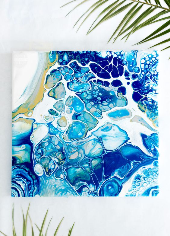 Acrylic Pouring Art - How to make beautiful artwork using an acrylic pouring technique. Fluid art pouring tutorial and marbling technique.