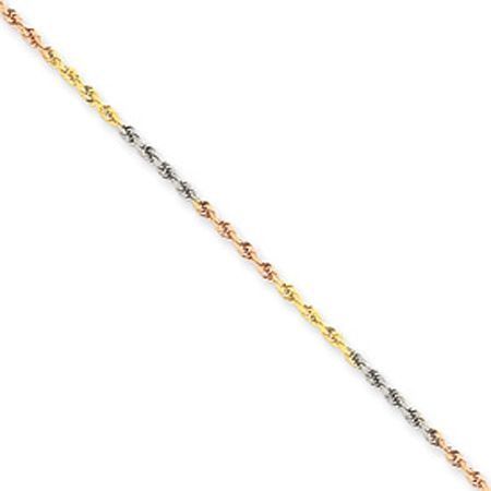 Modern Diamond Cut Rope Chain Necklace - 14K Tri Color Gold
