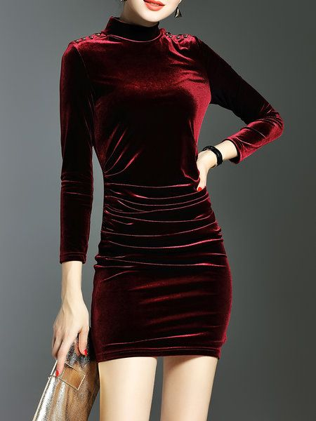 Wine Red Elegant Bodycon Plain Mini Dress: