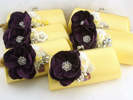 Bridesmaids Clutches in Yellow, Plum, Ivory and Lilac with Brooches, Handmade Flower and FeathersSet of 5  Ask a Question $500.00 USD