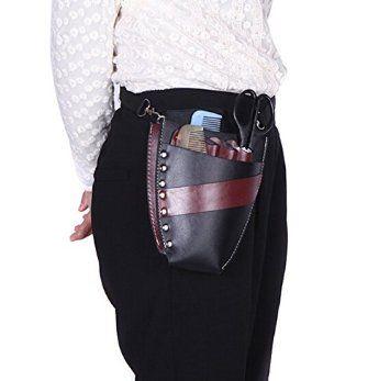 1PCS Leather Barber Salon Hairdressing Holster Pouch Scissor Bag Rivet Clips Holder Case with Waist Shoulder Belt