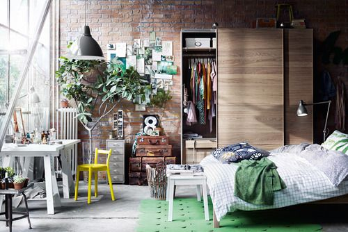 Here's a good space plan for your suite. IKEA has several different door options for the wardrobe.