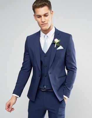 Shop ASOS Wedding Skinny Suit Jacket With Square Hem In Navy at ASOS. Discover fashion online.