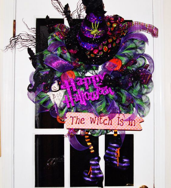 Halloween The Witch is In Wreath with by RibbonsandRosesbyDee, $125.00
