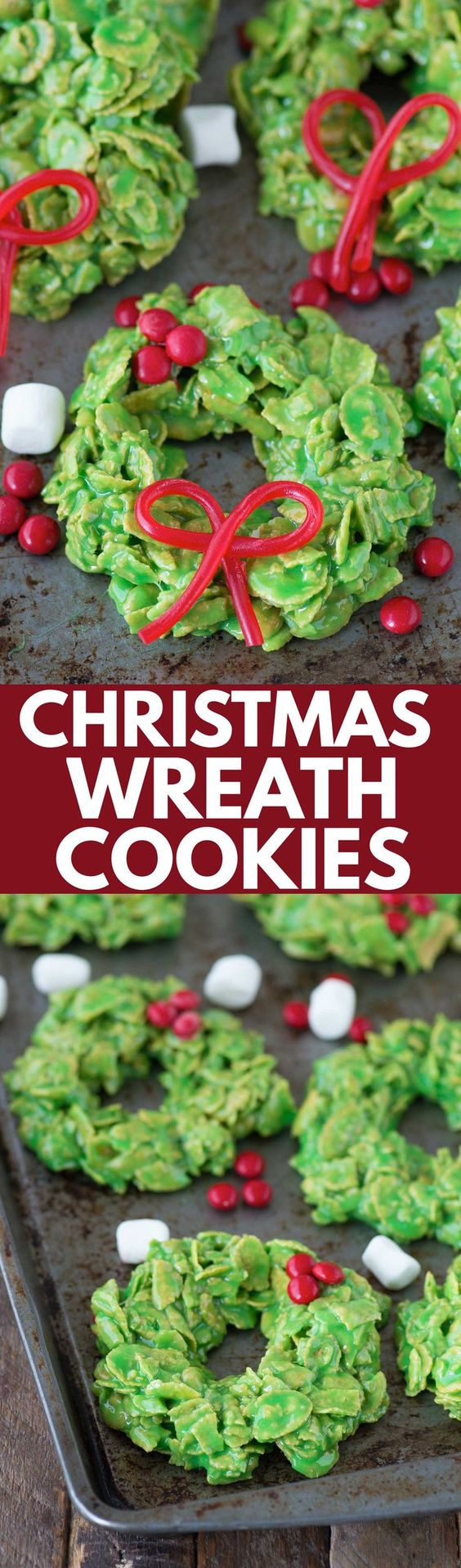No bake christmas wreath cookies made with corn flakes and marshmallows! These only take 20 minutes to make!: