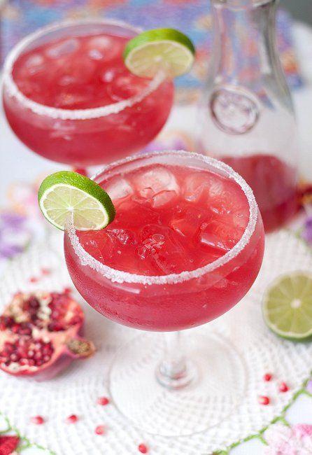 Pomegranate Margaritas - tequila, orange liqueur, pomegranate juice, margarita mix, sugar rim, lime, ice
