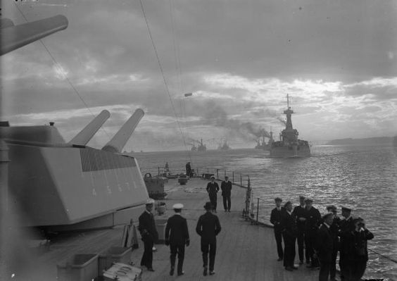 Battleships of the Royal Navy's 3rd and 6th Battle Squadrons leaving Rosyth in line astern, circa 1916. Taken from HMS Queen Elizabeth.