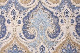 5/8 Yard Kravet Echo Latika Printed Linen Drapery Fabric in Delft