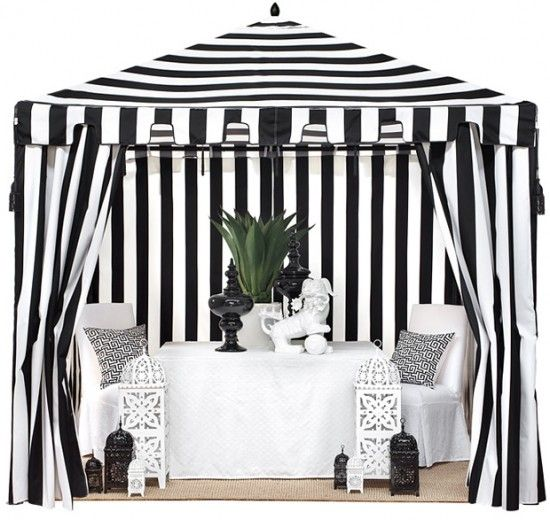 Outdoor Color Black White Outdoor Decor {Black & White Stripes}. For after the event. A big